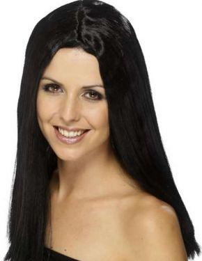 Ladies Fancy Dress Long Star Style Wig - Black